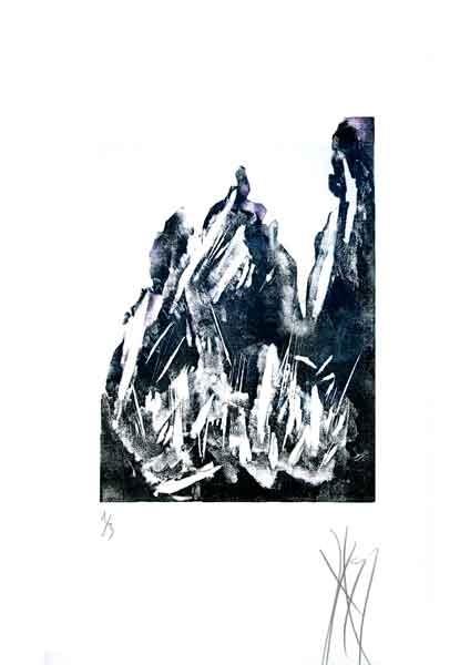 Falaises, linogravure de Serg Gicquel
